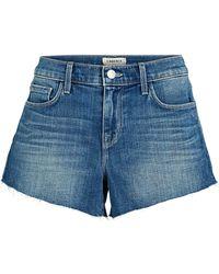 L'Agence - Audrey Cut-off Denim Shorts - Lyst