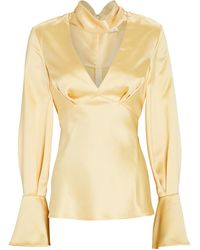 Acler Florence Satin Cut-out Blouse - Yellow