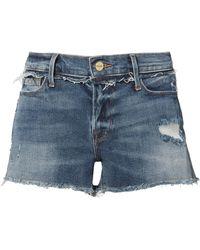 FRAME | Rookley Frayed Trim Cut Off Shorts | Lyst