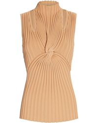 Acler Collins Twisted Rib Knit Top - Natural