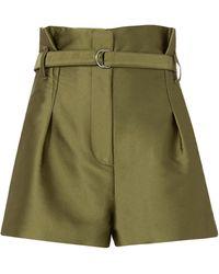 3.1 Phillip Lim Origami Pleated Satin Shorts - Green