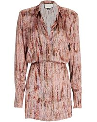 Alexis Ciandra Crepe Mini Shirt Dress - Multicolor