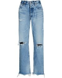 Moussy Odessa Distressed Wide Straight-leg Jeans - Blue