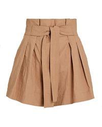 A.L.C. Joelle Pleated Tie-waist Shorts - Brown