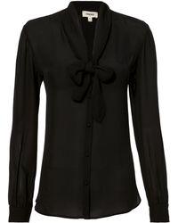L'Agence - Gisele Tie Black Blouse - Lyst