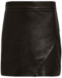 Michelle Mason - Wrap Leather Mini Skirt - Lyst