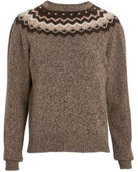 FRAME Fair Isle Crewneck Sweater - Brown