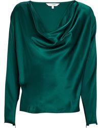 Intermix Quinn Silk Cowl Neck Blouse - Green