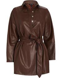 Marissa Webb Madi Mini Leather Tunic Dress - Brown