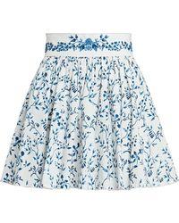Agua by Agua Bendita Arandano Floral Cotton Mini Skirt - Blue