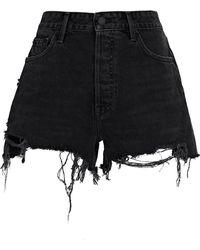 GRLFRND Helena Cut-off Denim Shorts - Black