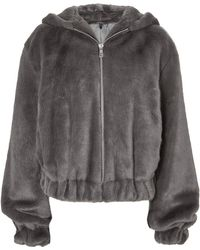 Helmut Lang - Grey Faux Fur Hooded Bomber Jacket - Lyst