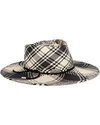 Gigi Burris Millinery Hilma Plaid Panama Straw Hat - Black