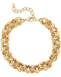 Elizabeth Cole Adler Multi Circle Link Necklace - Metallic