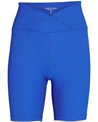 Year Of Ours V-waist Rib Knit Bike Shorts - Blue