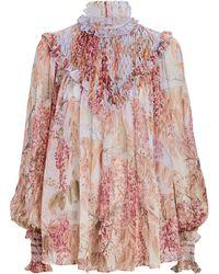Zimmermann Botanica Smocked Floral Silk Blouse - Pink