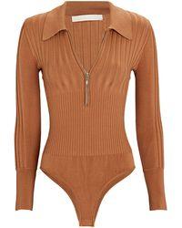 Jonathan Simkhai Emilia Rib Knit Polo Bodysuit - Natural