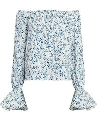 Agua by Agua Bendita Pina Off-the-shoulder Floral Blouse - Blue