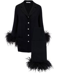 Sleeper Feather-trimmed Party Pajama Set - Black