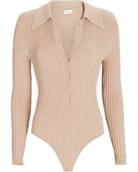 Ronny Kobo Cyndie Rib Knit Polo Bodysuit - Natural