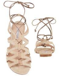 Duccio Venturi - Metallic Tie Suede Gladiator Sandal - Lyst