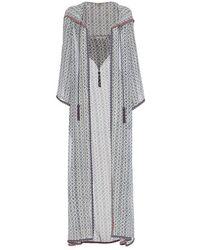 Talitha Iznik Hooded Print Robe - Gray
