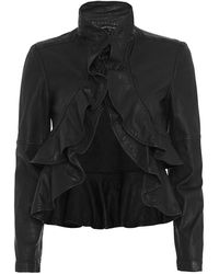 Marissa Webb Ivette Ruffle Leather Jacket - Black