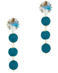 Mercedes Salazar Exclusive Fiesta Beaded Ball Earrings: Blue