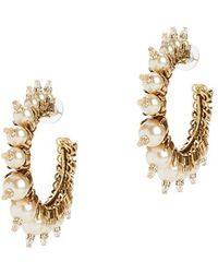 Erickson Beamon My One And Only Pearl Hoop Earrings - White
