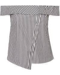 Exclusive For Intermix - Nadine Asymmetrical Striped Off-the-shoulder Top - Lyst