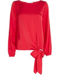 Intermix Kristy Knotted Silk Blouse - Red
