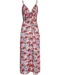 Borgo De Nor Flora Silk Twill Midi Dress - Red