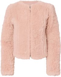 Exclusive For Intermix - Letzia Pink Shearling Cropped Coat - Lyst