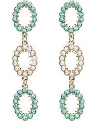 Lulu Frost Piazza Statement Earrings Gold/turqouise 1size - Metallic