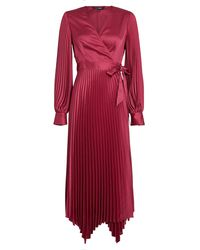 Intermix Allison Pleated Wrap Dress - Red