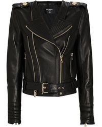 Balmain Leather Moto Jacket - Black