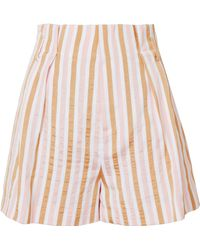 FRAME - Pink Striped Shorts - Lyst