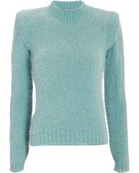 Alberta Ferretti - Strong Shoulder Angora-blend Sweater - Lyst