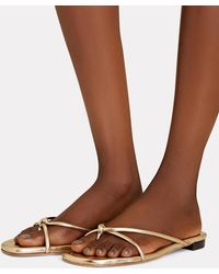 Loeffler Randall Liv Knotted Leather Sandals - Metallic