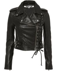 McQ Alexander McQueen | Lace-up Leather Moto Jacket | Lyst