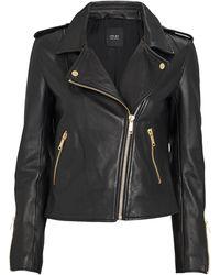 LTH JKT Kas Modern Leather Biker Jacket - Black