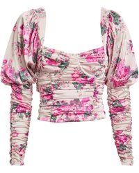 For Love & Lemons Palais Floral Crop Top - Pink
