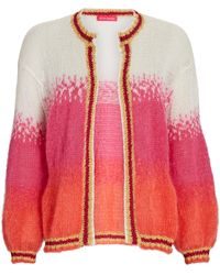 Rose Carmine Oversized Ombré Mohair-blend Cardigan - Pink