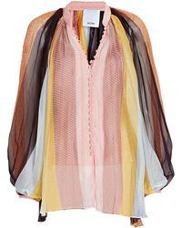 Acler Astone Pleated Stripe Chiffon Blouse - Multicolour