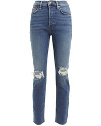 RE/DONE High-rise Ankle Crop Jeans - Blue