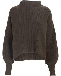 A.L.C. Helena Funnel Neck Rib Knit Sweater - Green