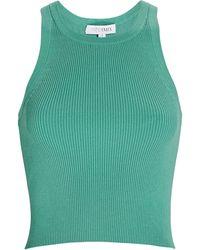 Intermix Elsie Cropped Rib Knit Tank Top - Green