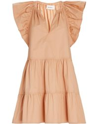 A.L.C. Harper Tiered Poplin Mini Dress - Orange