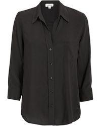 L'Agence Ryan Crepe Button Down Blouse - Black