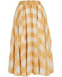 Acler Sutherland Gingham Midi Skirt - Yellow